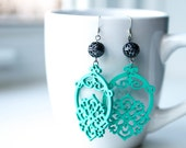 Aqua Wooden Dangles with Gun-Metal Filigree Bead