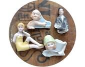 4 vintage antique doll heads, doll parts, antique doll, assemblage supply, broken doll, frozen charlotte, excavated, from Elizabeth Rosen