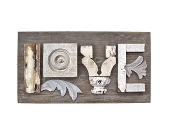 love sign wood, assemblage art, architectural salvage typography letters L O V E original art by Elizabeth Rosen