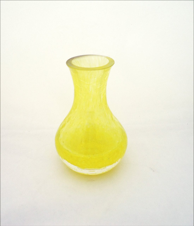 Vintage Caithness Glass Vase Yellow Crackle Glass Vase