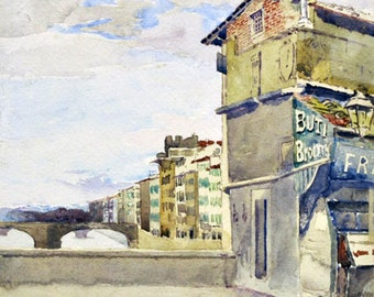 Vintage Watercolor - Ponte Vecchio Florence - A. Hugh Fisher - Italian Art, Vintage Artwork, 1930s Original Art, Watercolor Painting, Italy