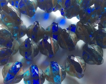 ON SALE Czech Glass Saturn Bead 8mm x 10mm Ocean Blue Picasso Finish QTY 10