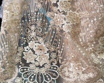 champagne lace fabric with gold sequined, gold sequined lace fabric with gorgeous flowers