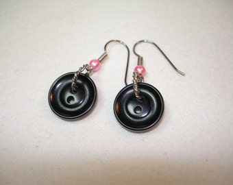 Button Earrings - Dangle Style - Black Vintage Buttons  - Silvertone findings with pink accent