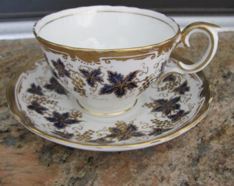 Vintage CROWN STAFFORDSHIRE Fine Bone China Tea Cup and Saucer Gold Vine Pattern