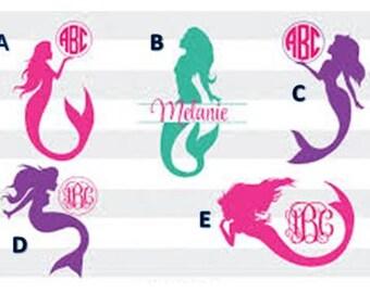 Monogrammed Mermaid Decal /RTIC YETI