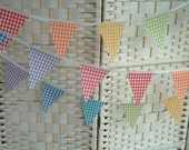 Mini-bunting. Gingham cotton fabric. Rainbow colours. Nursery banner. Sold by the metre. Checks. Country style.