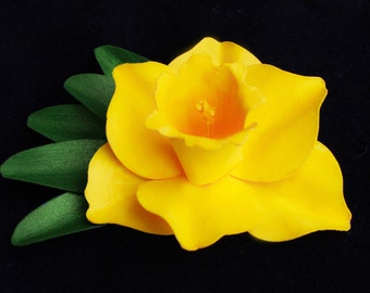 Daffodil with Leaves Pin