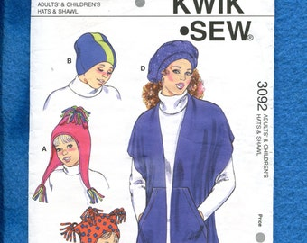 Kwik Sew 3092 Hats for Adults and Kids UNCUT
