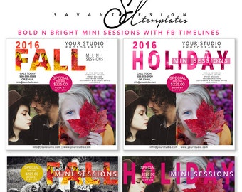 Fall Mini Session Template, Holiday Mini Session, Photoshop Marketing Templates, Facebook Timeline, Photography, INSTANT DOWNLOAD