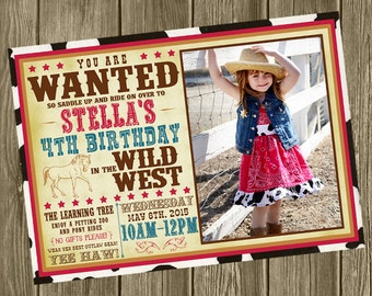 Cowgirl Birthday Party Invitation - Photo Option