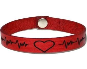 Valentine Leather Bracelet, Half Inch Leather Bracelet, Laser Engraved Leather Bracelet, Gifts Under 10