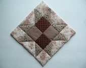 Quilted Candle Mat - Mug Rug  Country Style Decor  - Saw Tooth star - Vintage fabrics