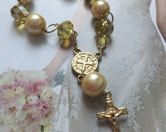 Saint Benedict Swarovski Crystal Yellow rosary bracelet,or, Rear View Mirror,rosary Bracelet, yellow Swarovski Crystal and Cross bracelet,