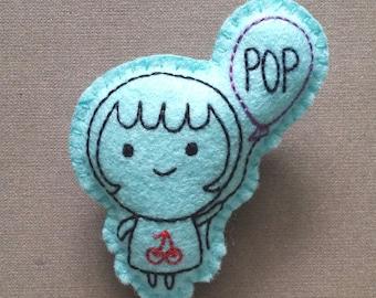 Quirklyn POP Balloon felt badge