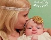 BIG SISTER Headband. Gold Baby Headband. Gold Flower Girl. Gold Big Sister Headband. Big Sister Gift. Gold Toddler Headband
