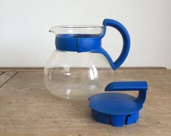retro Glass & Blue plastic Tea coffee pot // Tea coffee brewer // retro Glass Jug // German coffee pot // 1980s
