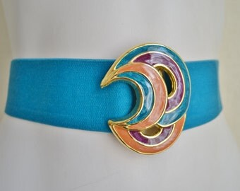 Vintage Day-Lor Stretch Belt with Large Abstract Enamel Clasp Teal Purple Gold 1980's Small