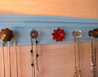 "blue Jewelry organizer.This necklace holder wall rack  5 knobs 15"" long wall hanging storage"