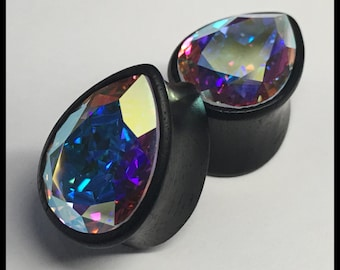 Ebony Swarovski Med Crystal AB Teardrop Solid Organic Wood Plugs