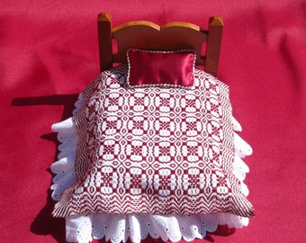 Dollhouse Coverlet Miniature Woven Doll Blanket Handwoven Coverlet  Red Whig Rose Coverlet 12th Scale Dollhouse Bedding Small Doll Bedding