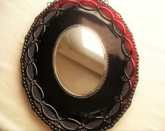 Stained Glass Mirror|Vintage Platter|Red|Oval Mirror|Wall Decoration|Home & Living|Home Decor|Mirrors|Handcrafted|Made in USA