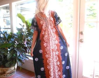 Vintage caftan bohemian ethnic batik 1970's festival hippie casual free flowing day tripper: small, medium