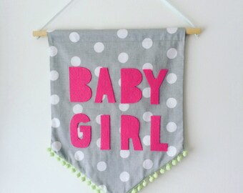 Baby Girl Wall Art, Pom Pom Banner, wall art, nursery art, nursery decor, new baby, baby gift, baby girl
