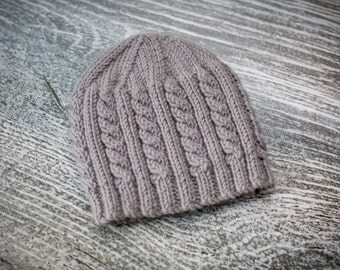 Baby Cable Beanie Hat, Slate Grey, Size 0-3 months, UK Seller, Baby Gift, Ready to Ship