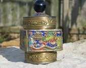 Chinese brass tea box with detailed cloisonne  BOX017