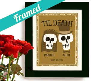 Halloween Wedding and Engagement Gift Skull Decor Skeleton Wedding Macabre Art Print for Couples Personalized Art Day of the Dead