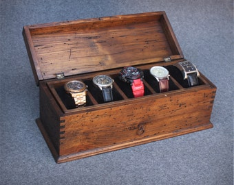 Personalized Rustic Men's Watch Box for 5 watches with drawer