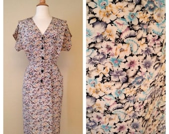 ON SALE Vintage 80s Does 50s Floral Shirt Waist Dress - Short Sleeve Knee Length - 1950s Style Button Up Size Large