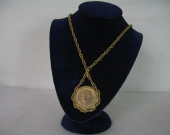 1970s Eisenhower Dollar Coin Pendant Necklace Gold Plated Vintage Costume Jewelry Ladies Necklace