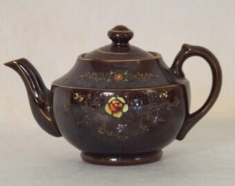 Brown Lusterware Teapot // Made in Japan // Mid Century // Orange Aqua Yellow // Tea Pot
