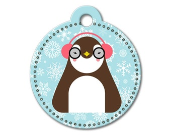 SALE Christmas Holiday Penguin Pet Tag - Dog Tags for Dogs - Custom Dog Tag for Pets, Personalized Cute Dog ID Tag, Sizes Small & Large