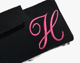 Women's Wallet, Black Wallet, Credit Card Holder, Credit Card Wallet, Card Holder, Monogrammed Wallet