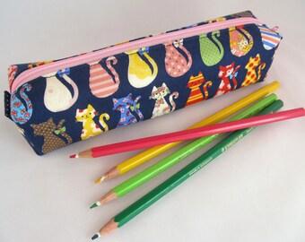 Cute Pencil Case - Cute Pencil Pouch - Zipper Pencil Case - Zippered Pencil Pouch - Soft Pencil Case - Cat Lover Gift