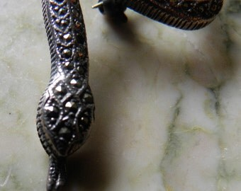Antique Sterling and Marcasite Snake Pin, Brooch