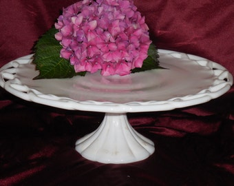 colony lace milk glass cake stand