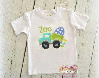 Boys Easter shirt - dumptruck Easter shirt - dumptruck with eggs - embroidered Easter shirt - personalized Easter shirt for boys with truck