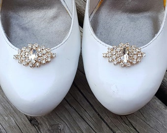 Gold Rhinestone Shoe Clips,  Bridal Shoe Clips, Rhinestone Shoe Clips, Crystal Shoe Clips,  Clips for Wedding Shoes, Bridal Shoes