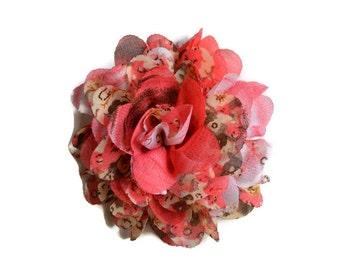 Coral Floral Chiffon Flower. 1 Flower