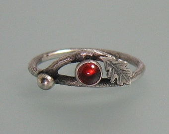 Garnet twig ring - sterling silver branch ring - oak leaf ring - elven ring -nature inspired ring - January birthstone -rustic woodland ring