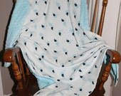 The Small Perfect Baby Blanket - Blue Whale - Lap Blanket - Crib Blanket - Play Blanket - Car Blanket - Soft Blanket  - Animal Blanket