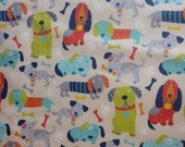 Cotton Flannel Fabric, Dog flannel dog fabric, grey, boy, animal flannel, flannel fabric, baby fabric, baby flannel, By the Yard - Patterned