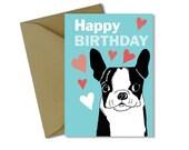 Downloadable boston terrier birthday card, printable boston terrier birthday card, instant download jpg