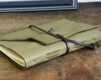 "Slim Leather Journal - Green Journal 4.5"" x 6"" by The Orange Windmill 1627"