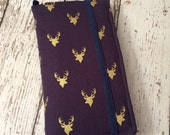 iPhone wallet, iPhone case- navy with gold stag head print wallet with removable gel case