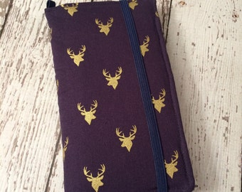 iPhone wallet case- navy with gold stag head print wallet with removable gel case